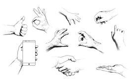 Diversos gestos de las manos humanas aisladas stock de ilustración
