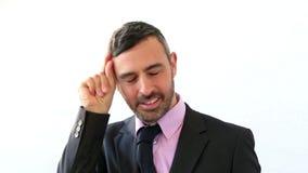 Diversos gestos de los hombres de negocios en un traje almacen de video