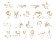 Diversos gestos de manos del esquema Imagen de archivo