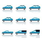 Diversos iconos de la carrocería de coche Fotos de archivo
