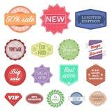 Diversos iconos de la historieta de la etiqueta en la colección del sistema para el diseño El índice y la marca vector el ejemplo ilustración del vector