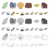Diversos iconos de la historieta de los dinosaurios en la colección del sistema para el diseño Ejemplo animal prehistórico del we ilustración del vector