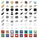 Diversos iconos de la historieta de los dinosaurios en la colección del sistema para el diseño Ejemplo animal prehistórico del we stock de ilustración