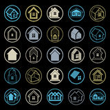 Diversos iconos de las casas para el uso en el diseño gráfico, sistema de la mansión Foto de archivo libre de regalías