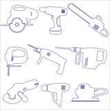 Diversos iconos del esquema de las herramientas eléctricas fijados Foto de archivo libre de regalías