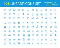 Diversos iconos del interfece del lineart ilustración del vector