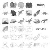 Diversos iconos del monochrom de los dinosaurios en la colección determinada para el diseño Web animal prehistórico de la acción  libre illustration