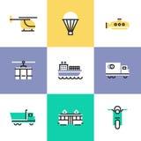 Diversos iconos del pictograma del transporte fijados ilustración del vector