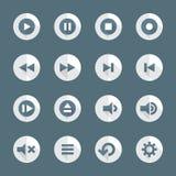 Diversos iconos del reproductor multimedia del estilo plano fijados Foto de archivo libre de regalías