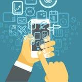 Diversos iconos del techno fluyen en smartphone moderno Imagenes de archivo