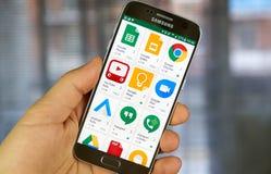 Diversos iconos del uso de Google en el juego de Google Foto de archivo
