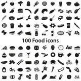 diversos iconos negros de la comida 100 y de la bebida fijados Imágenes de archivo libres de regalías