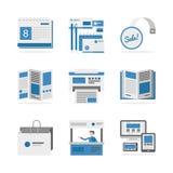 Diversos iconos planos de los materiales de publicidad fijados Fotos de archivo