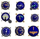 Diversos indicadores de los aviones Fotografía de archivo libre de regalías