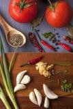 Diversos ingredientes para cocinar Foto de archivo