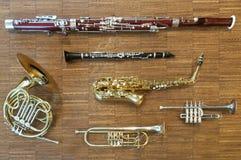 Diversos instrumentos de vento Foto de Stock