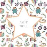 Diversos juguetes coloridos para los niños Modelo inconsútil Con la estrella grande con el plave mande un SMS fot Ilustración del Imagen de archivo libre de regalías