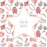Diversos juguetes rosados y rojos para los niños Modelo inconsútil Con la estrella grande con el lugar para el texto Ilustración  Imágenes de archivo libres de regalías