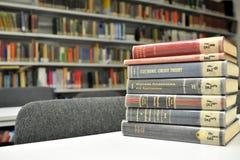 Diversos libros de la física en la biblioteca Imagen de archivo libre de regalías