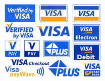 Diversos logotipos de la VISA del sistema de pago ilustración del vector