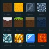 Diversos materiales y texturas para el juego stock de ilustración