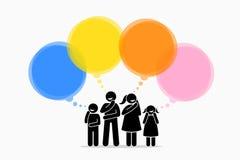 Diversos miembros de la familia que piensan en diversas cosas libre illustration