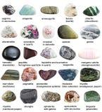 Diversos minerales pulidos con nombres aislados Fotografía de archivo