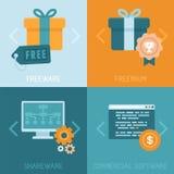 Diversos modelos comerciales del vector de apps de distribución libre illustration