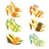 Diversos modelos de los zapatos de la espalda abierta ilustración del vector