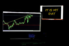 Diversos monitores com gráficos das moedas imagem de stock