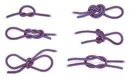 Diversos nudos de la cuerda Fotografía de archivo