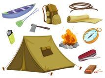Diversos objetos de acampar stock de ilustración