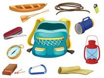 Diversos objetos que acampan stock de ilustración