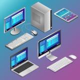 Diversos ordenadores realistas en isometry en fondo azul ilustración del vector