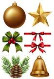 Diversos ornamentos de la Navidad en el fondo blanco Fotografía de archivo