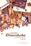 Diversos pedazos de chocolate con las nueces, las pasas y los granos de café Imagen de archivo libre de regalías