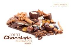 Diversos pedazos de chocolate con las nueces, las pasas y los granos de café Foto de archivo libre de regalías