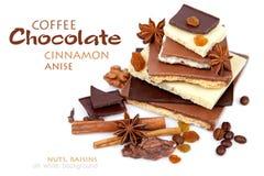 Diversos pedazos de chocolate con las nueces, las pasas y los granos de café Imágenes de archivo libres de regalías