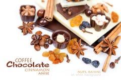 Diversos pedazos de chocolate con las nueces, las pasas y los granos de café Fotos de archivo libres de regalías
