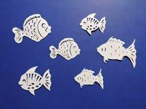 Diversos pescados de la forma cortados del Libro Blanco Fotos de archivo libres de regalías