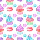 Diversos postres azules, rosados y púrpuras coloridos brillantes lindos Modelo inconsútil del vector en el fondo blanco Imagen de archivo libre de regalías