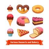Diversos postres y panadería Imágenes de archivo libres de regalías