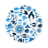 Diversos problemas de los desastres naturales en los iconos azules del mundo en el círculo eps10 Fotos de archivo libres de regalías