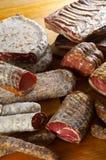 Diversos productos del salami Imágenes de archivo libres de regalías