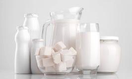Diversos productos lácteos Imagen de archivo libre de regalías