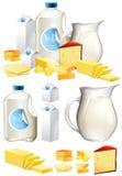 Diversos productos lácteos con leche y queso stock de ilustración