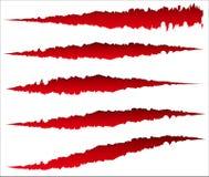 5 diversos rasguños de la garra, marcas de la garra Rasgón nervioso, formas heridas stock de ilustración