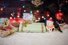 Diversos regalos de Navidad debajo del árbol iluminado Imagen de archivo libre de regalías