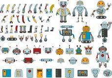 Diversos robots y recambios para su propio robot ilustración del vector