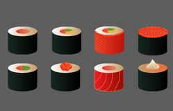 Diversos rollos de sushi, para el menú, diverso maki, salmón, caviar, con alga marina del nori, iconos japoneses de la comida fij Fotografía de archivo